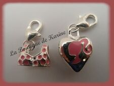 LOT 2 CHARMS BRELOQUE A FERMOIR METAL ARGENTE MAILLOT ET COEUR ROSE BIJOUX AE4