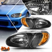 For 98-01 Kia Sephia Direct Replacement Headlight/Lamp Black Housing Amber Side
