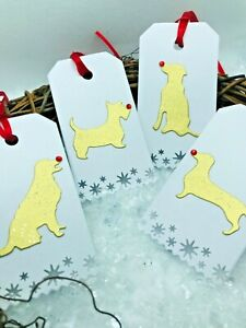 8 Dog Lovers Christmas Gift Tags - Red Gem Rudolph Noses - Gold Sparkle - Pet