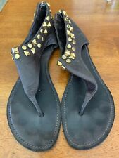 Toey Burch Studded Leather Thong Sandals Size 10