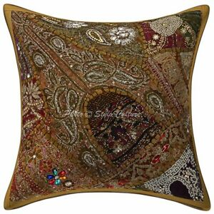 Indian Cotton Embroidered Brown 16x16 Beaded Sequins Patchwork Pillow Cover
