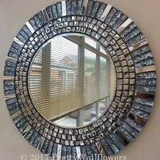 Stunning Round Silver Chrome Grey & Black  Glass Handmade Mosaic  Mirror