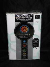 "Smartblock Aqua Gray White Print Blackout Curtain Panel NEW 50 x 63"" Rod Pocket"