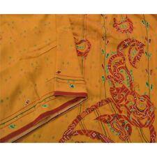 Sanskriti Vintage Yellow Sarees Art Silk Fabric Embroidered Bandhani Patch Sari