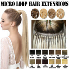 """20"""" DIY Easy Micro Loop Ring Beads 100% Indian Remy Human Hair Extension 100s AU"""