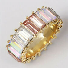 Rainbow ring thin line micro pave cz eternity 9 colors stack Wedding Antique