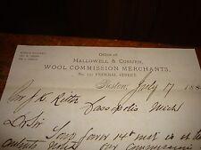 Letterhead 1883 Hallowell & Coburn Wool Commission Merc
