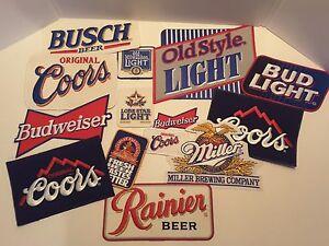 14 beer patches Budweiser, Bud Light, Coors, Busch, Miller NOS