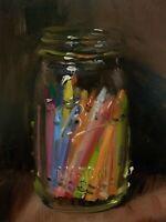 """Crayons in a Jar"" NOAH VERRIER Still life oil painting, Signed art print"
