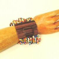 Bright Multi Color Handmade Beaded Stretch Wood Buckle Seed Bead Bali Bracelet
