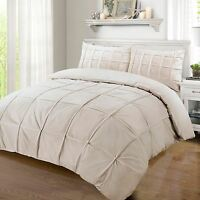 Luxury 100% Egyptian Cotton 200 Thread Pintuck Pleated Duvet Cover Stone / Beige