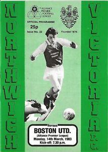 Football Programme>NORTHWICH VICTORIA v BOSTON UNITED Mar 1983