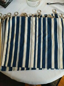 Set Of 4 Panels Blue Cream Striped Cafe Curtains With Clips