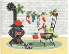 Vintage 1960s Antique Woodstove and Cat Kept Warm Christmas Card