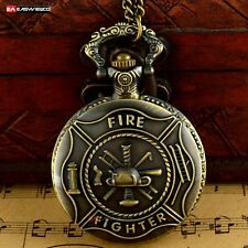 Antique Fire Fighter Necklace Pendant Quartz Pocket Gift Watch Vintage Steampunk