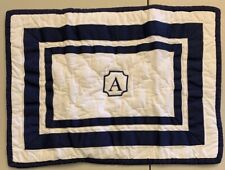 "NEW Pottery Barn Kids Organic Harper Crib Toddler Sham NAVY ""A"""