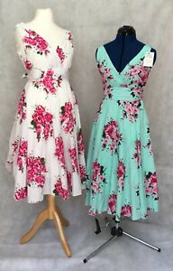 Anmol Cotton Floral Print Midi Tea Dress in Mint or Ivory with Roses