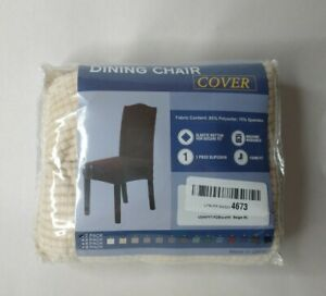 Two Piece Set Dining Chair Cover Beige Waffle Weave Fabric Elastic Washable