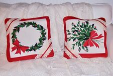 Two Vtg Wilendur Christmas Pillow Covers. Holly Berry Wreath & Holly Bouquet