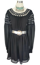 LUMIER BARIANO Dress - Black Boho Vintage Long Sleeve Macrame Mini 10 - RRP $90