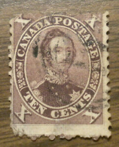 Canada  # 17 E - from 1859 - First Cents Issue - cancelled - hinge attached
