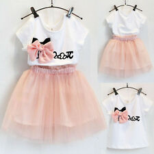 Kids Infant Baby Girls Dress Outfits Bow T-shirt Tops+Tulle Tutu Skirts 2PCS Set