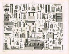 ORIGINAL ANTIQUE PRINT VINTAGE 1851 ENGRAVING CHEMISTRY EQUIPMENT&  APPARATUS