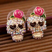 Pair Lovely Gold Tone Crystal Scull Stud Earrings Ear Rings Skull Crystals ER09