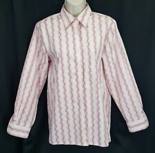 Foxcroft wrinkle free pink white striped geo button down work career blouse 6
