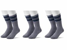 6 Pair Croft & Barrow Men's Gray Blue Stripe Cold Weather Winter Crew Boot Socks