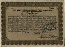 Northern Colorado Fuel Company Voting Trust Stock Certificate