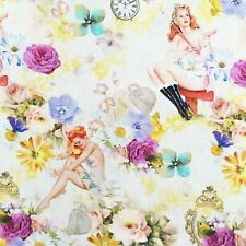 Retro pin up girls fabric, vintage style ladies, floral 1950s fifties style