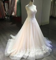 Blush Pink Wedding Dresses Bridal Ball Gown Strapless Corset Appliques Strapless