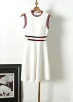 AUTH Ted Baker APRYLL Knitted Sleeveless Skater A-line dress White