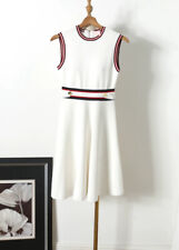 AUTH Ted Baker APRYLL Knitted Sleeveless Skater A-line dress White
