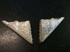 BEAUTIFUL VINTAGE STERLING SILVER COLLAR TIPS - MARKED OVERLAID STERLING MEXICO