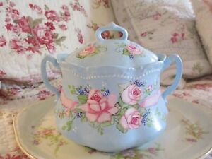 Shabby Chic Hand Painted Roses - Porcelain Jar and Lid