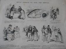 Gravure 1874 - Humour caricature Succès des Huitres fuite de l'escargot