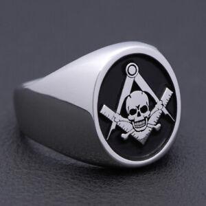 Men`s Skull Symbol Mason Freemasonry Masonic Silver Ring