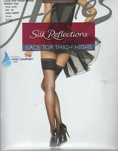 NEW Silk Reflections Lace Top Thigh Highs Silky Sheer Lace Top Sheer Toe CD