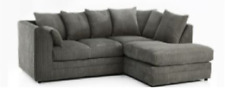 ORIGINAL CHICAGO RIGHT HAND CORNER SOFA GREY JUMBO CORD ALL OVER+FREE  FOOTSTOOL