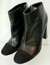 Ann Taylor Loft Black MM/Suede Toe Side Zip Ankle Boots/ Bootie Size 9.5. Sharp!
