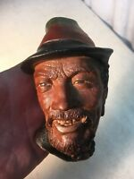 Bosson ware (LIKE) Painted  Head Chalkware Wall hanging East Indies Alps Man