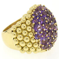 Vintage Large 18K Yellow Gold 7.50ctw Round Amethyst Domed Popcorn Cluster Ring