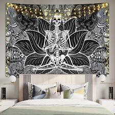 Psychedlic Mandala Skull Flower Tapestry Wall Hanging Blanket Home Decor Bedroom