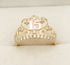 "10k Yellow Gold Two Tone Quince Anos ""15"" Sweet Fifteen Crown Ring"