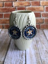 Houston Astro Earrings Handcrafted Astros Baseball Silver Plated Dangle