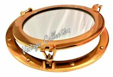 "15"" Brass Maritime Porthole Round Window Glass Nautical Boat Ship Port Mirror"