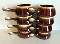 8 pcs McCOY 7054 Pottery Drip Glaze French Onion Handled Soup Chili Bowl USA NEW