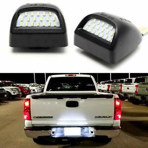 For Chevy Silverado GMC Sierra 1500 2500 3500 LED License Plate Lights Lamp SET